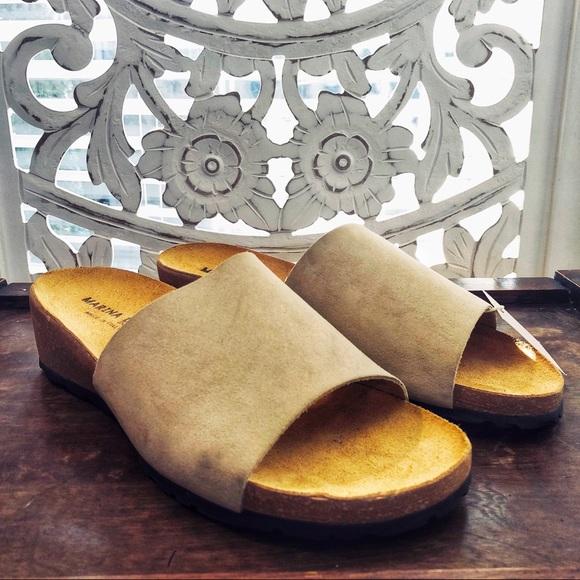 b167ebe711 Marina Luna Shoes | Beige Mirta Suede Wedge Slide Sandals | Poshmark